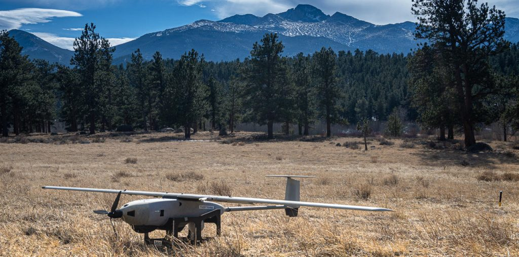 A drone in front of mountains in Colorado