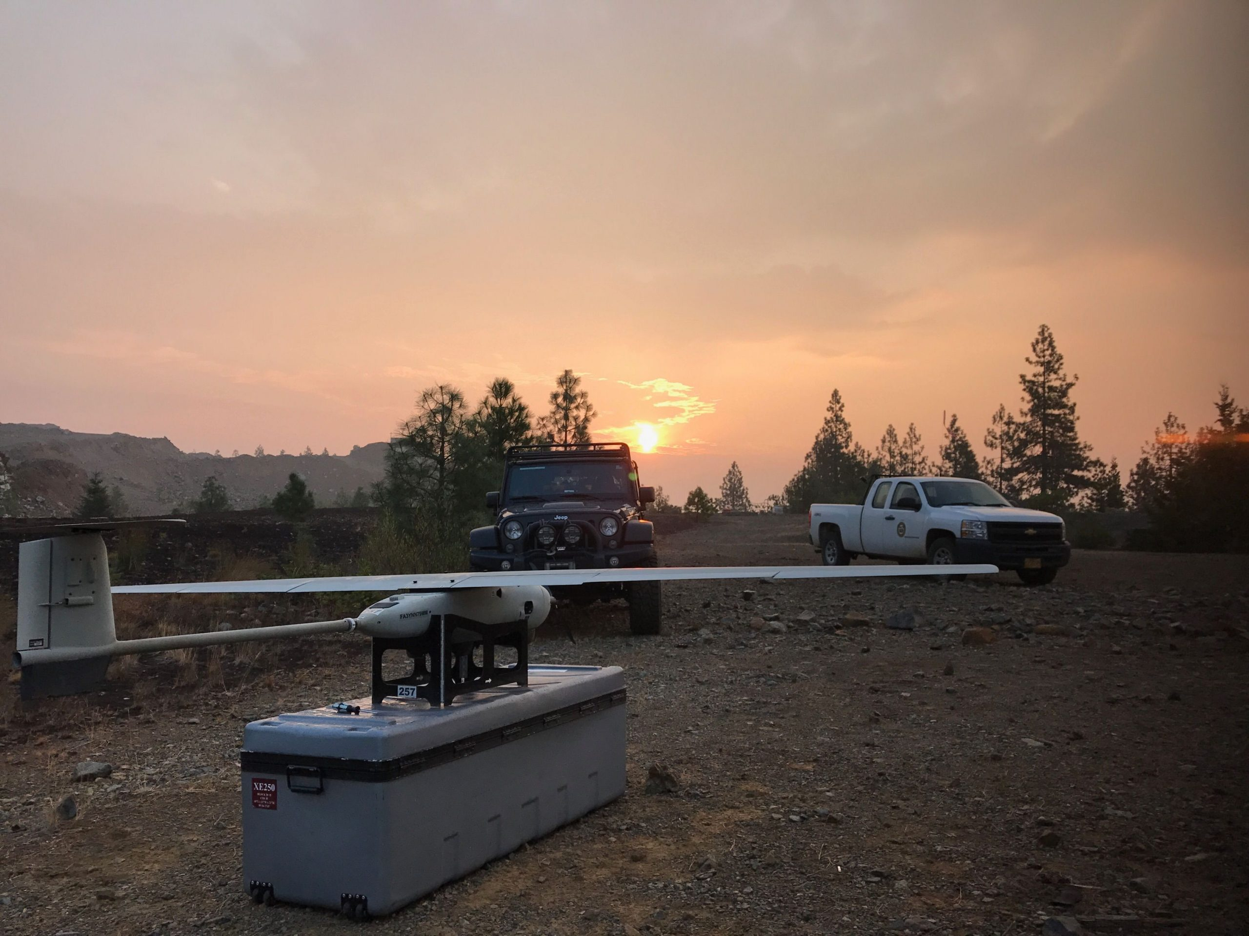 A drone monitoring a wildfire with USFS